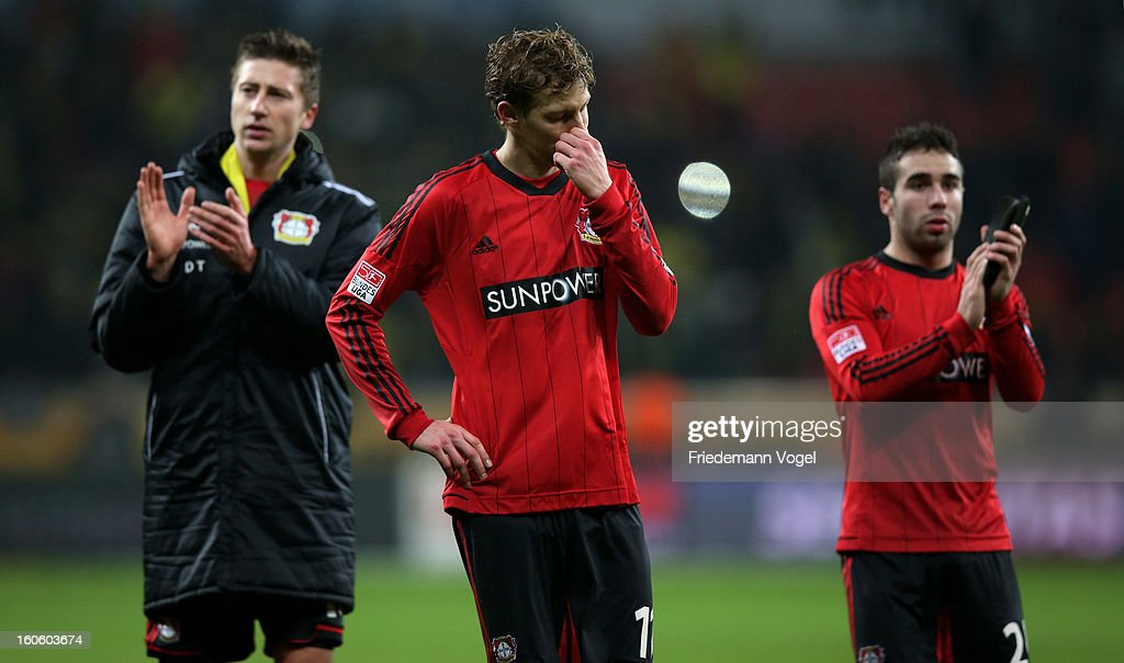 <a gi-track='captionPersonalityLinkClicked' href=/galleries/search?phrase=Stefan+Kiessling&family=editorial&specificpeople=605405 ng-click='$event.stopPropagation()'>Stefan Kiessling</a> of Leverkusen looks dejected during the Bundesliga match between Bayer 04 Leverkusen and Borussia Dortmund at BayArena on February 3, 2013 in Leverkusen, Germany.