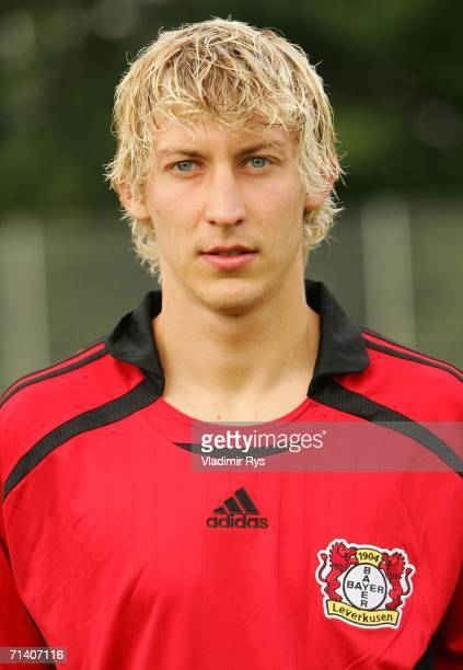 Stefan Kiessling of Leverkusen poses for a picture during the First Bundesliga Team Presentation of Bayer 04 Leverkusen at the Training Ground on...
