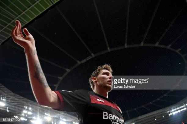 Stefan Kiessling of Leverkusen reacts after the Bundesliga match between Bayer 04 Leverkusen and FC Schalke 04 at BayArena on April 28 2017 in...