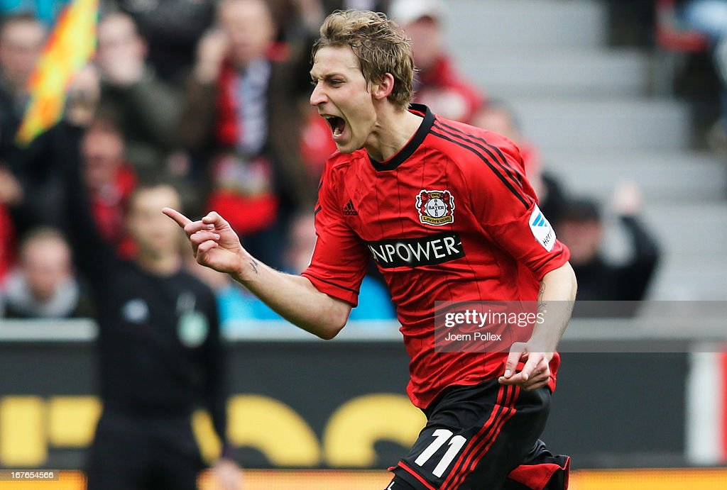 <a gi-track='captionPersonalityLinkClicked' href=/galleries/search?phrase=Stefan+Kiessling&family=editorial&specificpeople=605405 ng-click='$event.stopPropagation()'>Stefan Kiessling</a> of Leverkusen reacts during the Bundesliga match between Bayer 04 Leverkusen at SV Werder Bremen at BayArena on April 27, 2013 in Leverkusen, Germany.