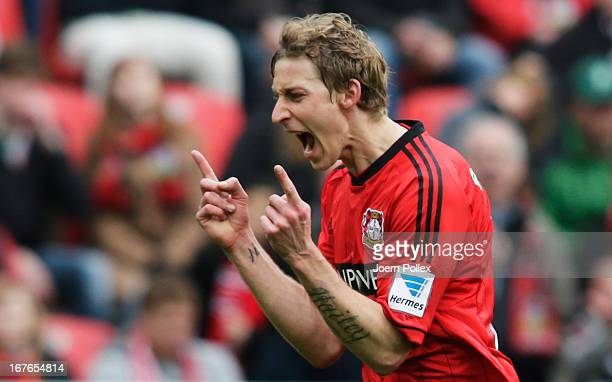 Stefan Kiessling of Leverkusen reacts during the Bundesliga match between Bayer 04 Leverkusen at SV Werder Bremen at BayArena on April 27 2013 in...