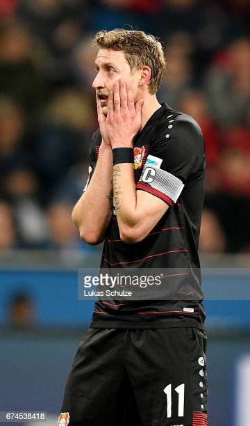 Stefan Kiessling of Leverkusen reacts during the Bundesliga match between Bayer 04 Leverkusen and FC Schalke 04 at BayArena on April 28 2017 in...
