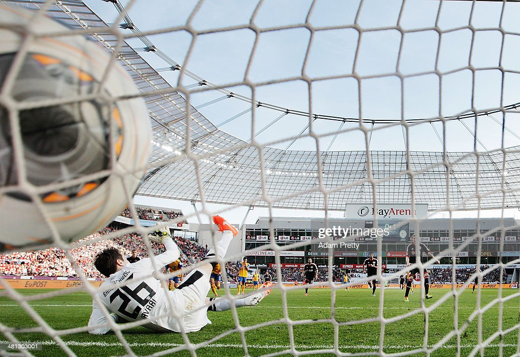 Stefan Kiessling of Leverkusen scores a penalty goal during the Bundesliga match between Bayer Leverkusen and Eintracht Braunschweig at BayArena on...
