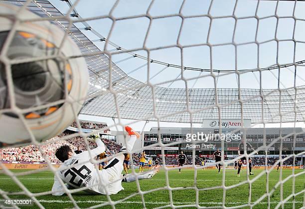 Stefan Kiessling of Leverkusen scores a penalty goal during the Bundesliga match between Bayer Leverkusen and Eintracht Braunschweig at BayArena on...