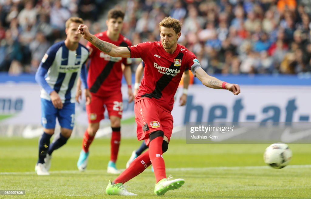 Stefan Kiessling of Leverkusen scores the fourth goal after penalty during the Bundesliga match between Hertha BSC and Bayer 04 Leverkusen at Olympiastadion on May 20, 2017 in Berlin, Germany.