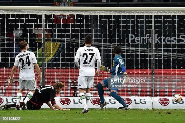 Stefan Kiessling of Leverkusen scores the opening goal during the Bundesliga match between Bayer Leverkusen and Borussia Moenchengladbach at BayArena...