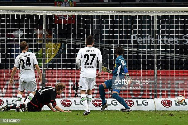 Stefan Kiessling of Leverkusen scores the opening goal during the Bundesliga match between Bayer Leverkusen and Borussia Moenchengladbach at BayArena...