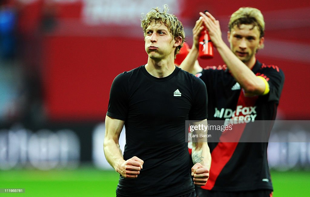 Stefan Kiessling of LEverkusen, who scored the first goal for his team, celebrates after winning the Bundesliga match between Bayer Leverkusen and FC St. Pauli at BayArena on April 10, 2011 in Leverkusen, Germany.