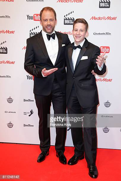 Stefan Kiwit and his son Justus attend the 99FireFilmAward 2016 at Admiralspalast on February 18 2016 in Berlin Germany