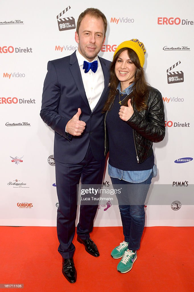 Stefan Kiwit and Natalia Avelon attend the 5th '99Fire-Films-Award' - Red Carpet Arrivals at Admiralspalast on February 14, 2013 in Berlin, Germany.
