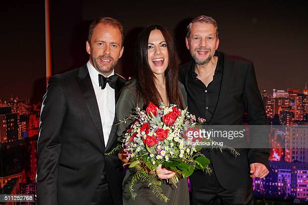 Stefan Kiwit Bettina Zimmermann and Kai Wiesinger attend the 99FireFilmAward 2016 at Admiralspalast on February 18 2016 in Berlin Germany