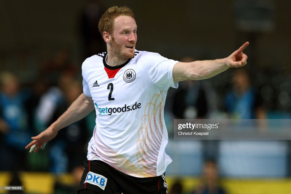 Stefan Kneer of Germany celebrates a goal during the round of sixteen match between Germany and Macedonia at Palau Sant Jordi on January 20, 2013 in Barcelona, Spain.