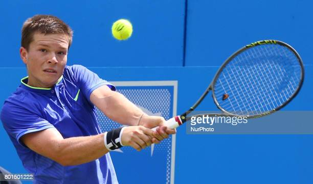 Stefan Kozlov against Marin Cilic CRO during Men's Singles Round Two match on the fourth day of the ATP Aegon Championships at the Queen's Club in...