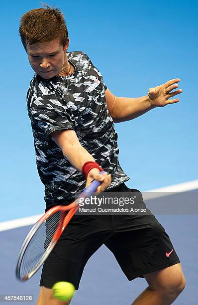 Stefan Kozlov of the United States in action against Martin Klizan of Slovakia during day one of the ATP 500 World Tour Valencia Open tennis...