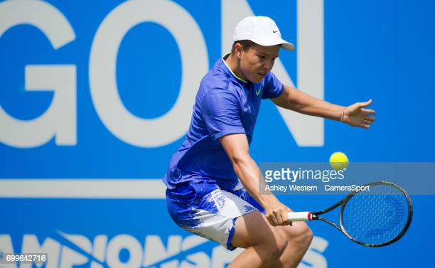 Stefan Kozlov of USA in action during his defeat by Marin Cilic of Croatia in their Men's Singles Second Round Match during Day 4 of the Aegon...