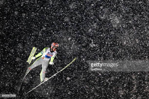 Stefan Kraft competes in the Mixed Team HS100 Normal Hill Ski Jumping during the FIS Nordic World Ski Championships on February 26 2017 in Lahti...