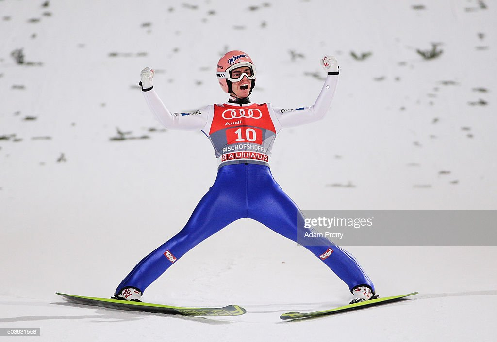 Stefan Kraft of Austria celebrates his second jump on day 2 of the 64th Four Hills Tournament in Bischofshofen on January 6 2016 in Bischofshofen...