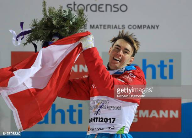 Stefan Kraft of Austria celebrates victory in the Men's Ski Jumping HS100 at the FIS Nordic World Ski Championships on February 25 2017 in Lahti...