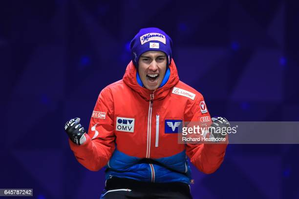 Stefan Kraft of Austria celebrates victory in the Men's Ski Jumping HS100 Final during the FIS Nordic World Ski Championships on February 26 2017 in...