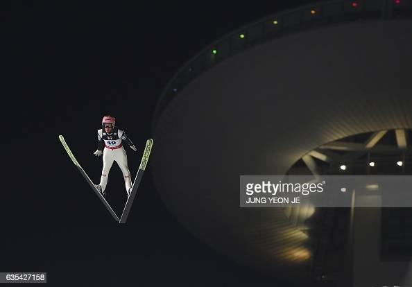 TOPSHOT Stefan Kraft of Austria competes during a trial round of the Large Hill Individual event at the FIS Ski Jumping World Cup in Pyeongchang on...