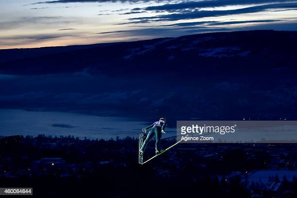 Stefan Kraft of Austria competes during the FIS Ski Jumping World Cup Men's HS138 on December 06 2014 in Lillehammer Norway