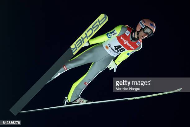 Stefan Kraft of Austria competes in the Men's Ski Jumping HS100 Final during the FIS Nordic World Ski Championships on February 25 2017 in Lahti...