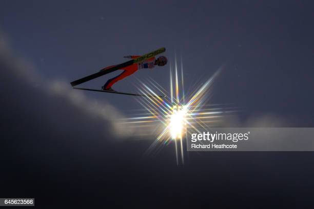 Stefan Kraft of Austria competes in the Mixed Team HS100 Normal Hill Ski Jumping during the FIS Nordic World Ski Championships on February 26 2017 in...
