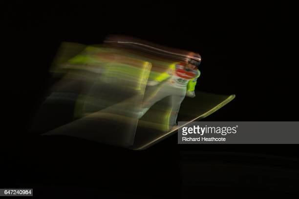 Stefan Kraft of Austria jumps during the Men's Ski Jumping HS130 at the FIS Nordic World Ski Championships on March 2 2017 in Lahti Finland