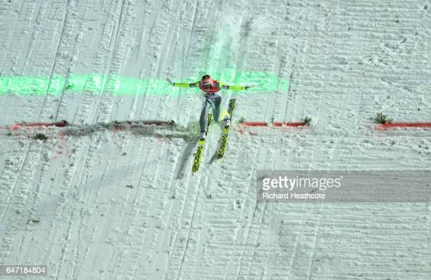 Stefan Kraft of Austria lands after his final jump during the Men's Ski Jumping HS130 at the FIS Nordic World Ski Championships on March 2 2017 in...