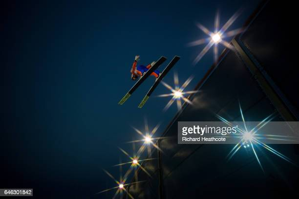 Stefan Kraft of Austria makes a jump during the men's LH134 Ski Jumping training at the FIS Nordic World Ski Championships on February 28 2017 in...