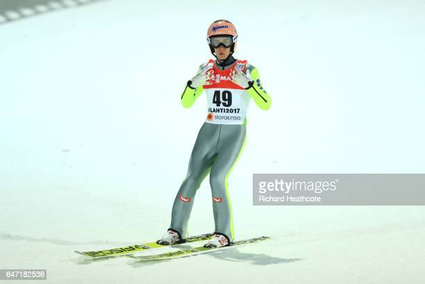 Stefan Kraft of Austria reacts after his final jump during the Men's Ski Jumping HS130 at the FIS Nordic World Ski Championships on March 2 2017 in...