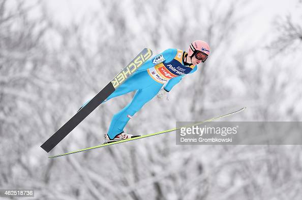 Stefan Kraft of Austria soars through the air during his first training jump on Day One of the FIS Ski Jumping World Cup on January 30 2015 in...