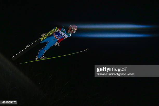 Stefan Kraft of Austria takes 1st place during the FIS Ski Jumping World Cup Vierschanzentournee on January 06 2015 in Bischofhofen Austria
