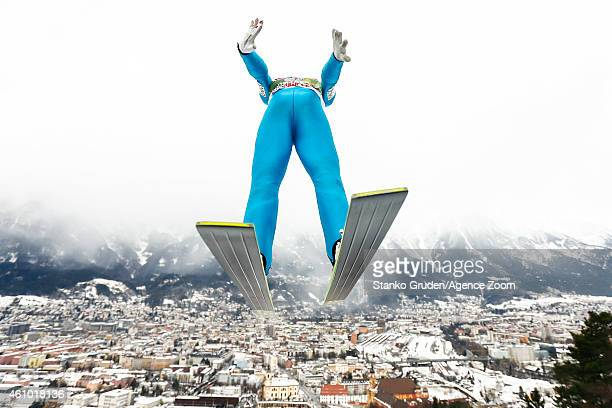 Stefan Kraft of Austria takes 2nd place during the FIS Ski Jumping World Cup Vierschanzentournee on January 04 2015 in Innsbruck Austria
