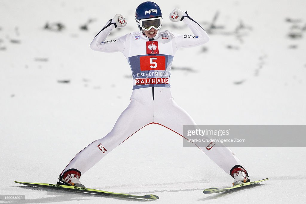 Stefan Kraft of Austria takes 3rd place during the FIS Ski Jumping World Cup Vierschanzentournee (Four Hills Tournament) on January 06, 2013 in Bischofshofen, Austria.