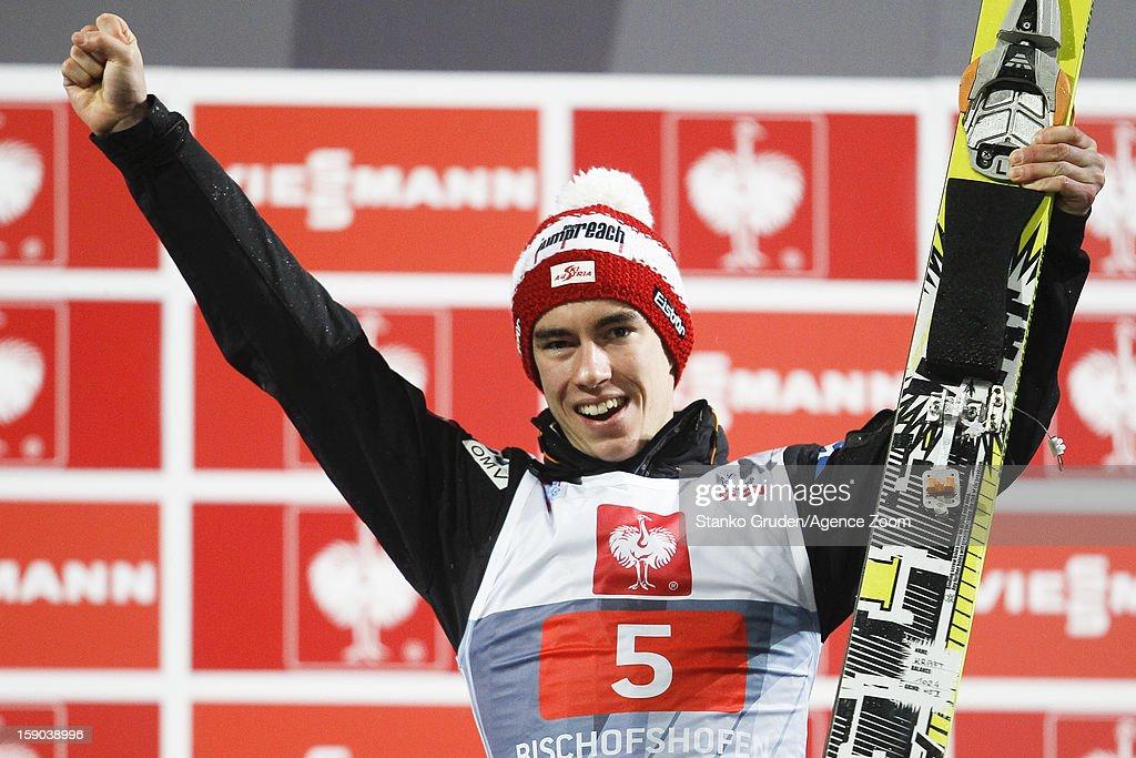Stefan Kraft of Austria takes 3rd place during the FIS Ski Jumping World Cup Vierschanzentournee (Four Hills Tournament) on January 06, 2013 in Bischofshofen, Austria.