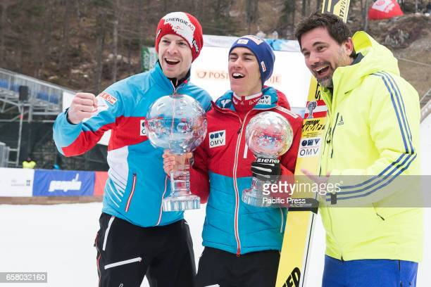 PLANICA SLOVENIA PLANICA SLOVENIA Stefan Kraft of Austria with his coaches celebrating his first place in overall World Cup and Sky Flying standings...