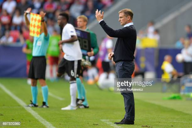 Stefan Kuntz coach of Germany gives his team instructions during the UEFA European Under21 Championship Group C match between Germany and Czech...