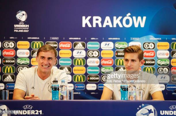 Stefan Kuntz head coach of Germany and Julian Pollersbeck of Germany during the German U21 national team training session at Official Training Ground...