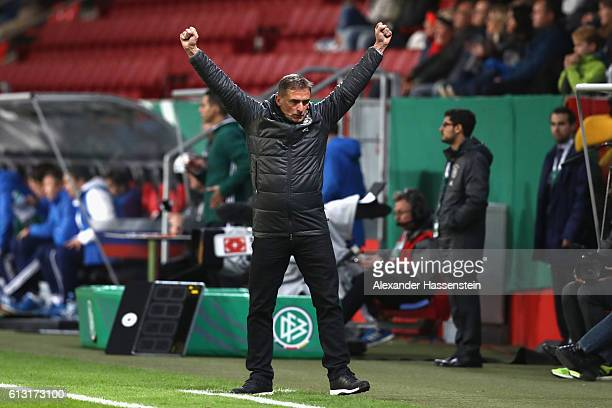 Stefan Kuntz head coach of Germany celebrates victory after winning the 2017 UEFA European U21 Championships Qualifier between Germany and Russia at...