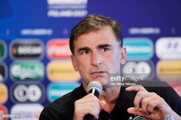 Stefan Kuntz head coach of Germany during the Germany U21 national team press conference at Krakow Stadium on June 29 2017 in Krakow Poland