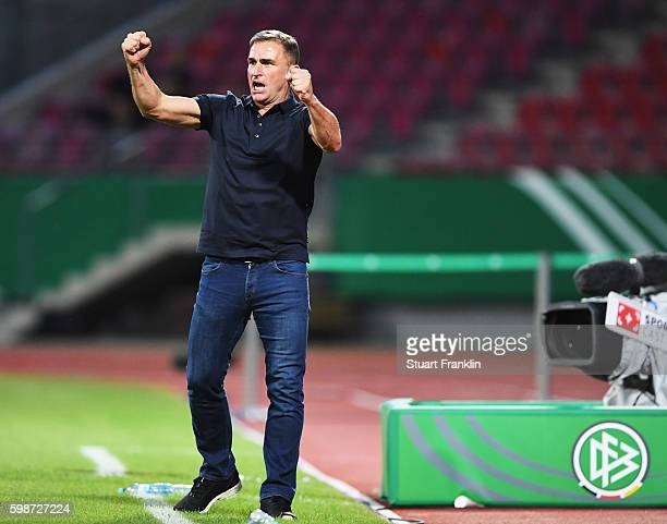 Stefan Kuntz head coach of Germany U21s celebrates winning his first game as Head coach during the Under21 friendly match between U21 Germany and U21...