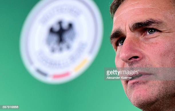 Stefan Kuntz newly unveiled U21 head coach of the German national team speaks to media during a press conference at Schlosshotel BadWilhelmshoehe on...