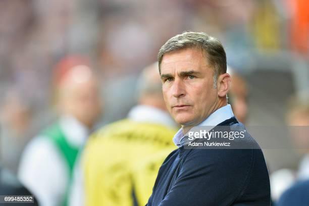 Stefan Kuntz trainer coach of Germany U21 looks forward during Germany v Denmark 2017 UEFA European Under21 Championship on June 21 2017 in Krakow...