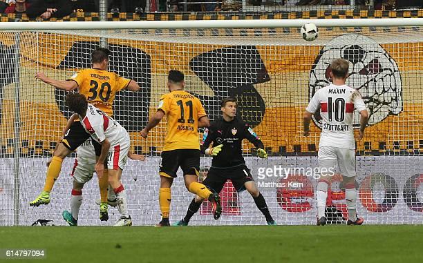 Stefan Kutschke of Dresden scores the first goal during the Second Bundesliga match between SG Dynamo Dresden and VfB Stuttgart at DDVStadion on...