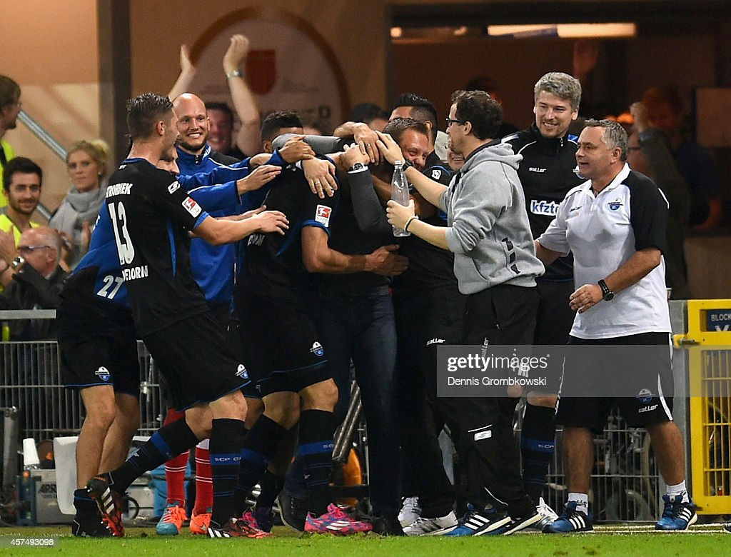 Stefan Kutschke of SC Paderborn celebrates as he scores their third goal during the Bundesliga match between SC Paderborn 07 and Eintracht Frankfurt...