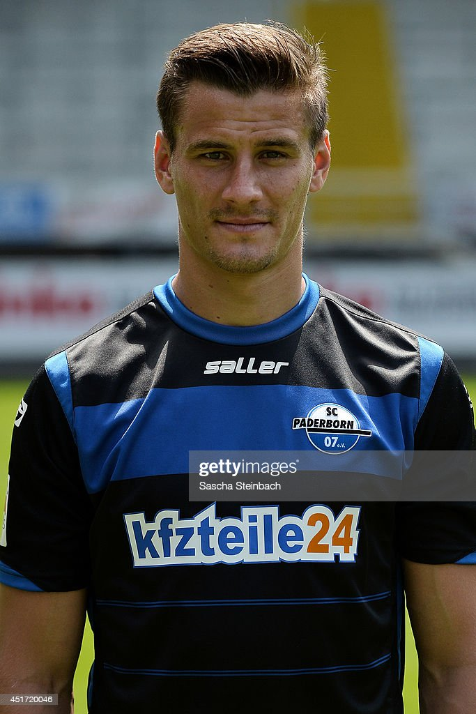 Stefan Kutschke poses during SC Paderborn 07 team presentation at Benteler-Arena on July 4, 2014 in Paderborn, Germany.