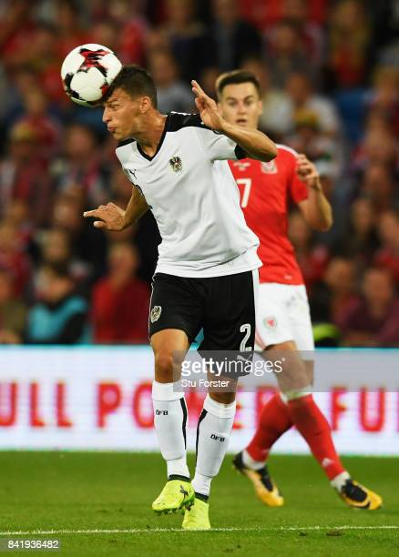 Stefan Lainer of Austria heads clear during the FIFA 2018 World Cup Qualifier between Wales and Austria at Cardiff City Stadium on September 2 2017...