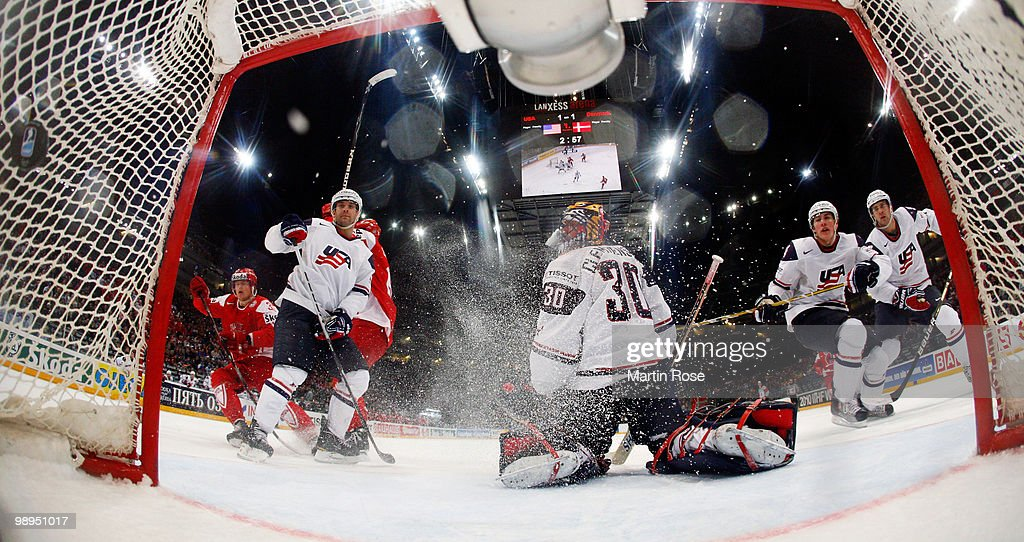 Stefan Lassen of Denmark scores his team's winning goal during overtime during the IIHF World Championship group A match between USA and Denmark at...