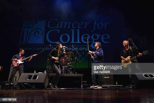 Stefan Lessard Brandi Carlile Will Ferrell and Mike McCready perform on stage during '90 Minutes With Will Ferrell' benefitting Cancer For College at...